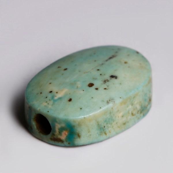 Egyptian Turquoise Faience Scaraboid Dedicated to Amenemhet II