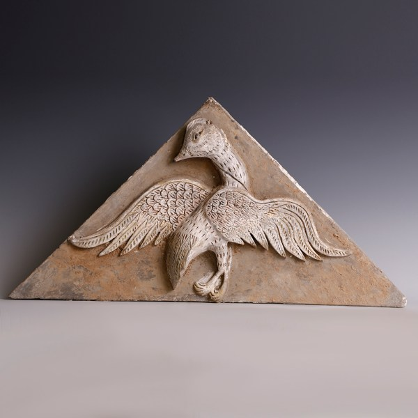 Western Han Terracotta Funerary Painted Tile with a Phoenix in Relief