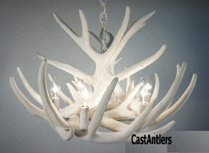 Pure White Faux Antler Chandelier