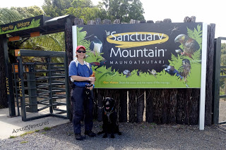 Antnz (left) and ADNZ Ben in front of the sign at Maungatautari Sanctuary