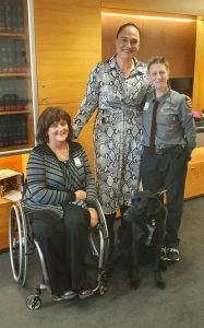 A picture in MP Carmel Sepuloni's office with (left to right) Gerri Pomeroy in wheelchair, Carmel Sepuloni, ADNZ Ben and Antnz. Photo credit: Carmel Sepuloni