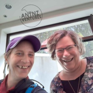 A selfie of Antnz on left, wearing a purple cap. On the right is Rachel Nobel. Both are smiling at the camera