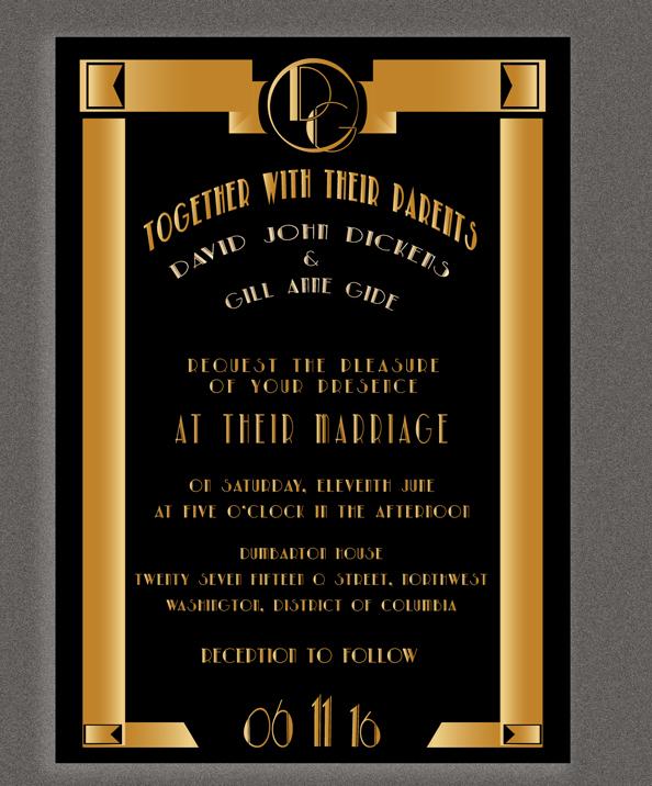 Art Deco The Great Gatsby Wedding Invitations
