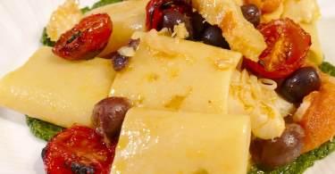 Paccheri con baccalà e pomodorini confit