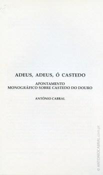 Adeus, adeus ó Castedo: apontamento monográfico sobre Castedo do Douro