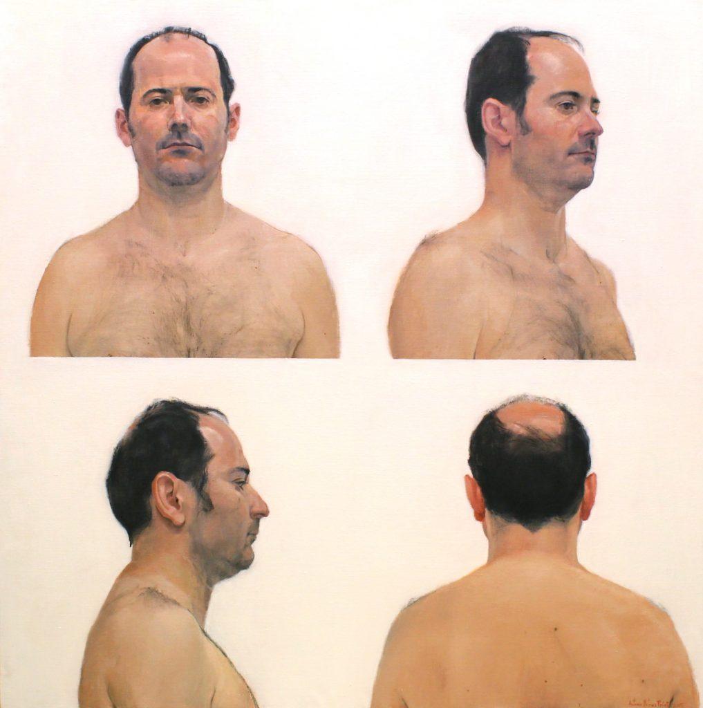 Retrato de hombre en la cuarentena. 120x120 cm.