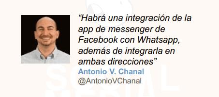 Lo que nos deparan las redes sociales para 2015: AntonioVChanal dice que habrá una integración de la app de messenger de Facebook con Whatsapp que funcionará en ambas direcciones.