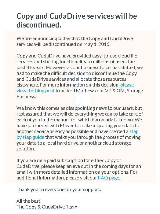 Anuncio oficial de que Copy y los servicios de CudaDrive dejan de ofrecerse.