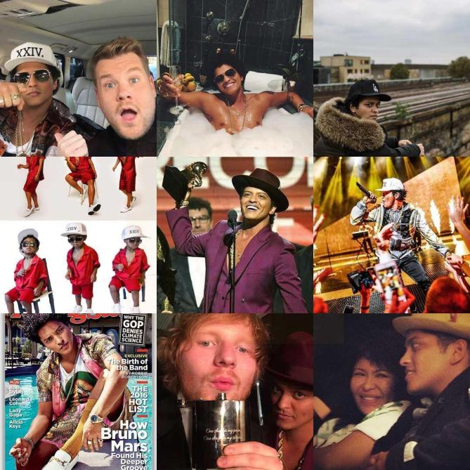 Bruno Mars. Estas son sus #2016BestNine del 2016. Con 14.470.106 likes en 68 publicaciones en 2016.