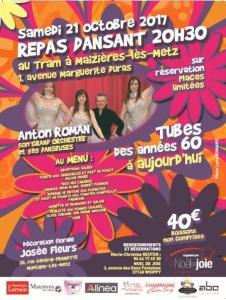 """Affiche Repas dansant Samedi 21 Octobre 2017 - salle """"Le Tram"""" Maizières-lès-Metz animé par Anton Roman"""