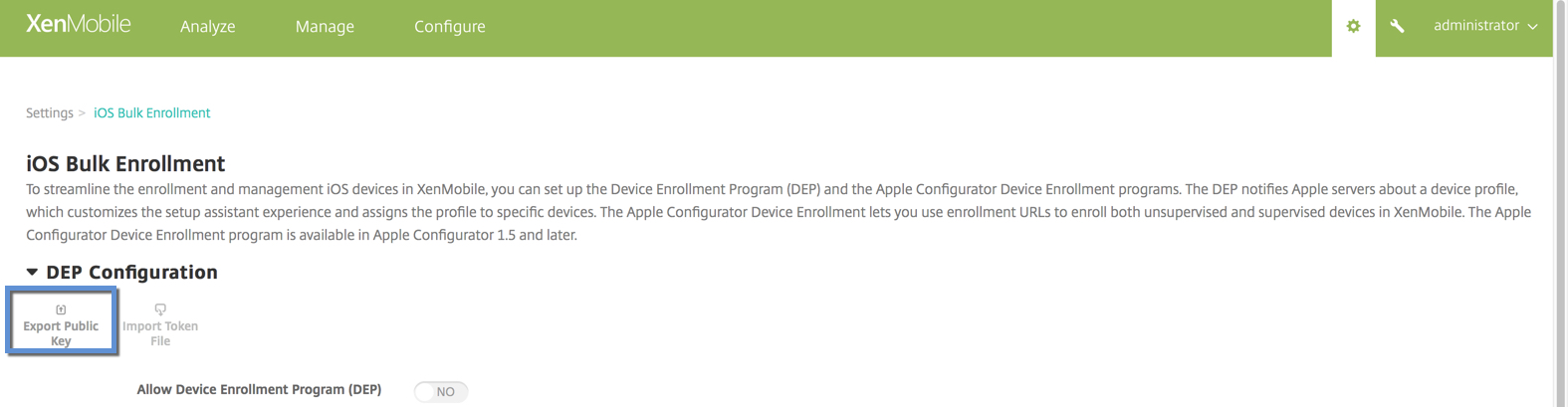 Enable DEP within XenMobile