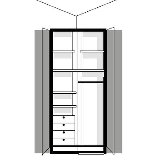 element dressing melamix en angle 2 portes 5 tablettes 1 tringle 4 tiroirs 1 miroir