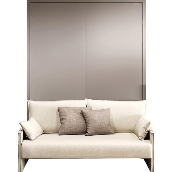 lit escamotable avec canape accoudoirs et couchage 150x200