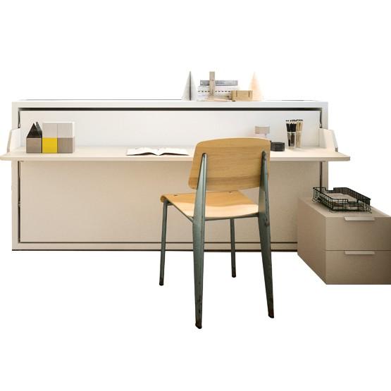 meuble lit transversal avec bureau incorpore en facade couchage 80x200