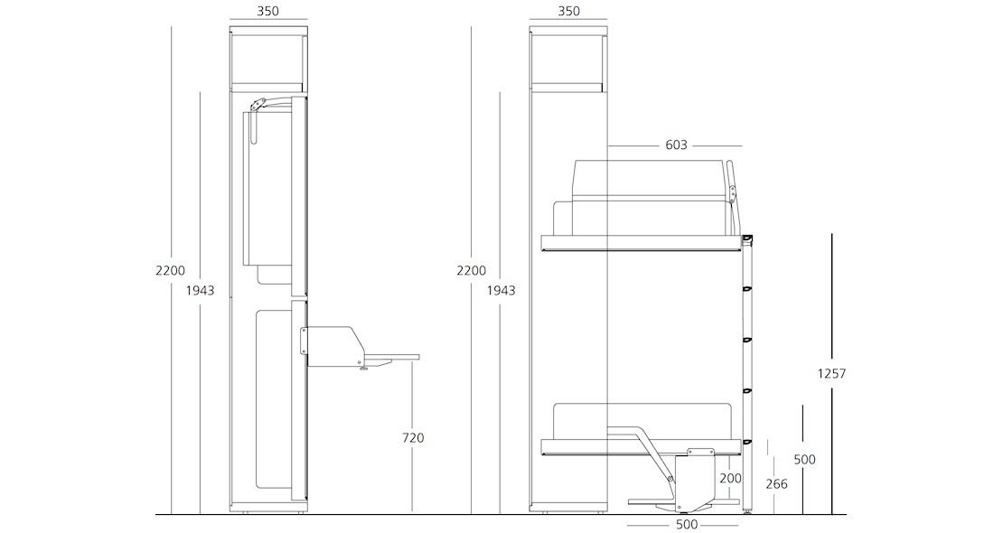 lits escamotables superposes avec bureau incorpore en facade 2 couchages 80x200