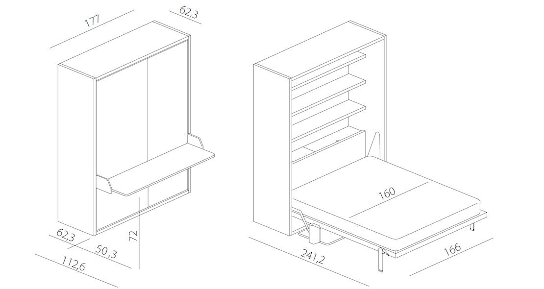 lit escamotable couchage 160x200 avec bureau integre