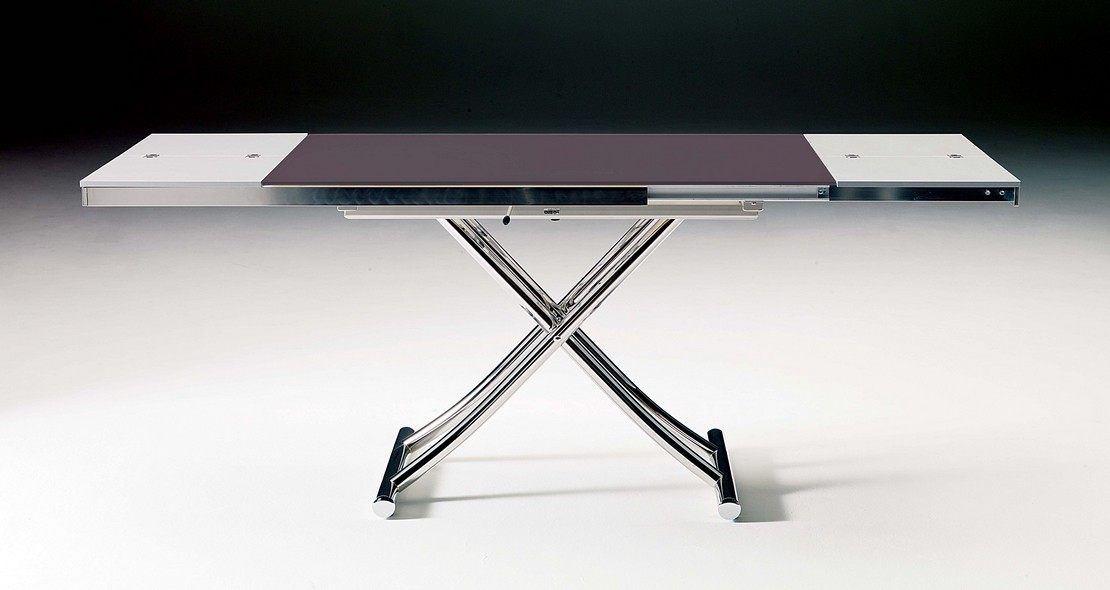table a hauteur variable planet avec dessus verre et allonge
