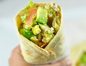 BREAKFAST BURRITO WITH AVOCADO AND SCRAMBLED EGGS