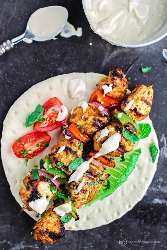 Mediterranean Grilled Chicken Kabobs with Tahini Sauce