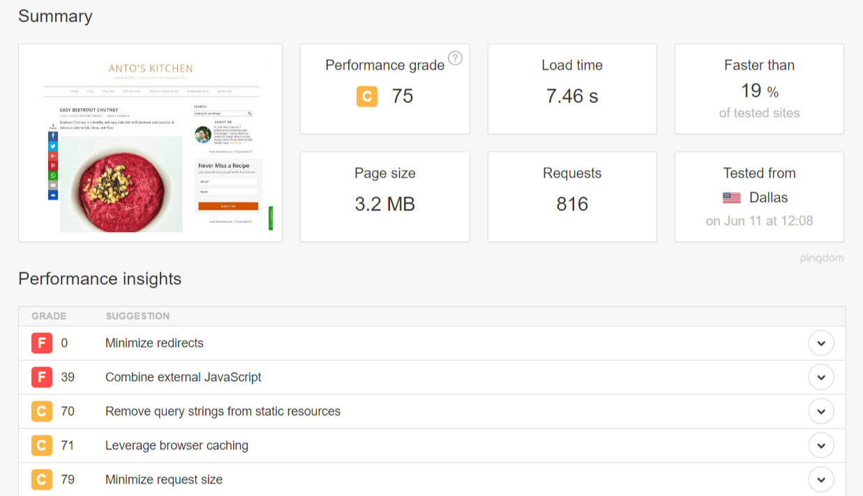 page speed with wp cache plugin