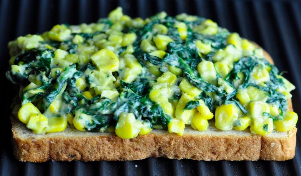 corn spinach sandwich