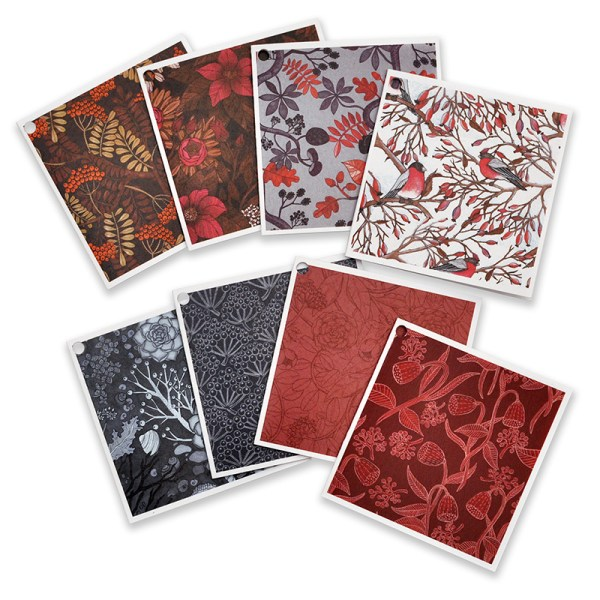 Julklappskort mönster 8-pack