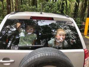 Kinderen achterin de auto