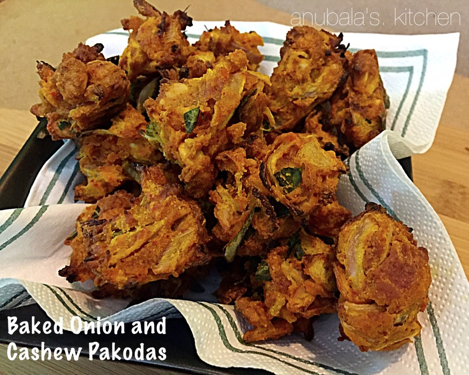 Baked Onion and Cashew Pakodas