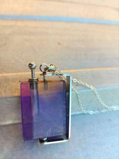 Pendentif diffuseur de parfum Louis en Améthyste et Argent