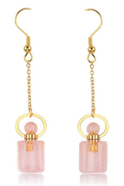 Boucles d'oreilles Diffuseurs de Parfums en Rose Quartz