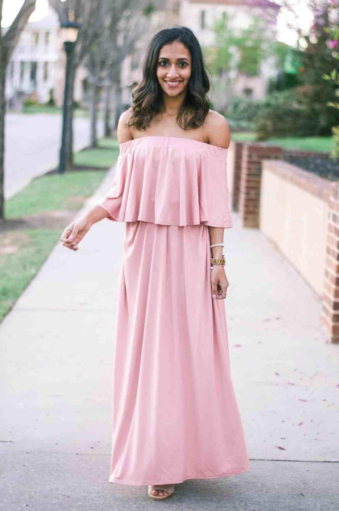 blush off the shoulder maxi dress