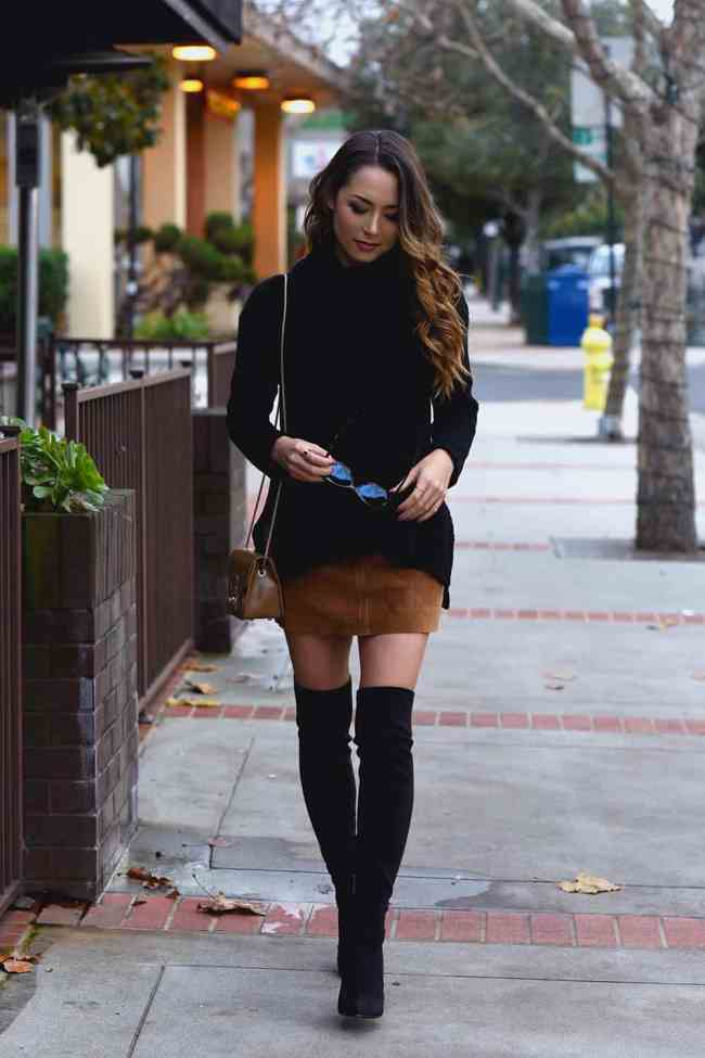 72b6e3b342 Suede Skirt Outfit Inspiration and Styling Tips - An Unblurred Lady