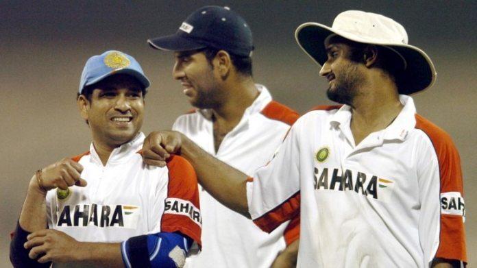 फाइल इमेज में सचिन तेंदुलकर, युवराज सिंह और हरभजन सिंह। (एएफपी फोटो)