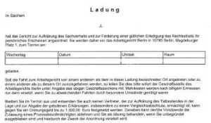 Ladung-Arbeitsgericht Berlin-Gütetermin