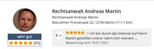 Rechtsanwalt Andreas Martin - Bewertungen auf Anwalt.de