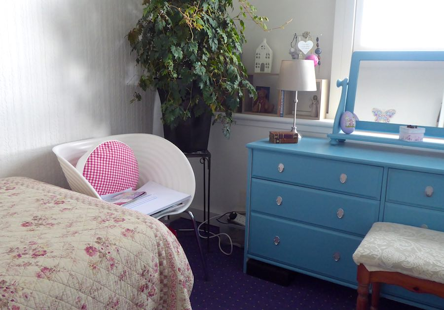blue dressing table and plant in bedroom
