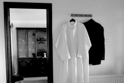 vestments, hanging in hall