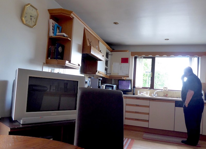 kitchen with TV in parochial house