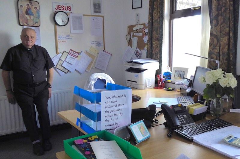 parish office, desks, priest,