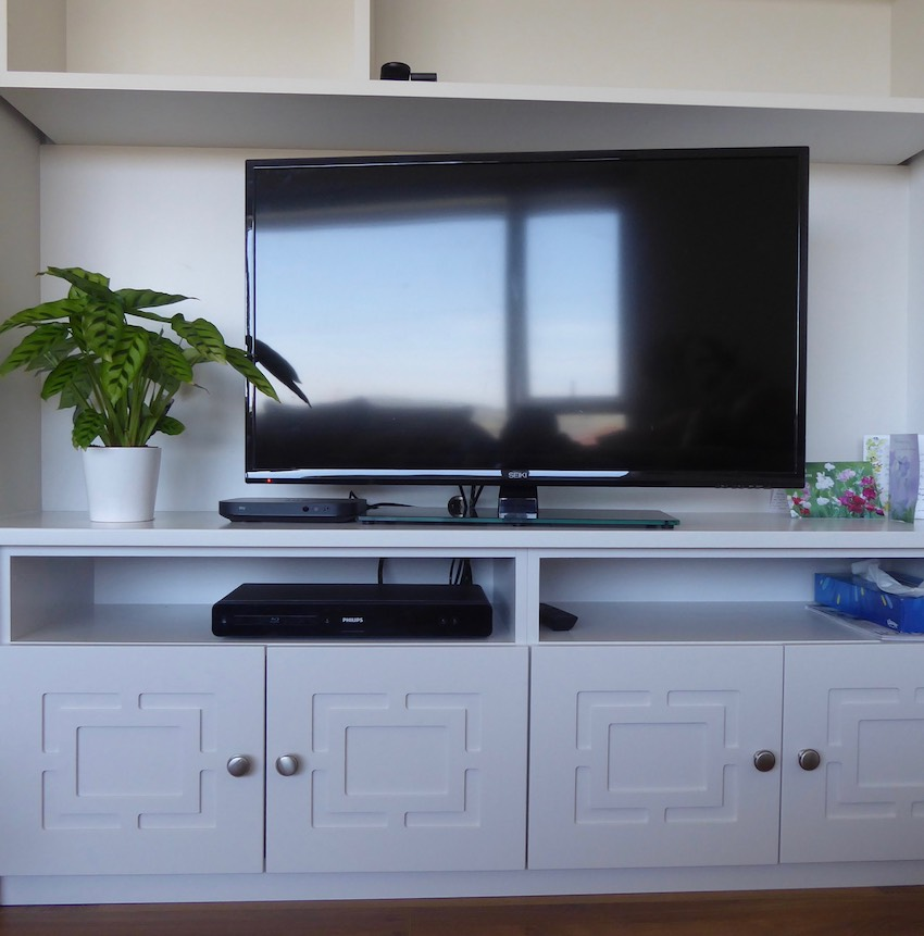 Tv and new white shelving