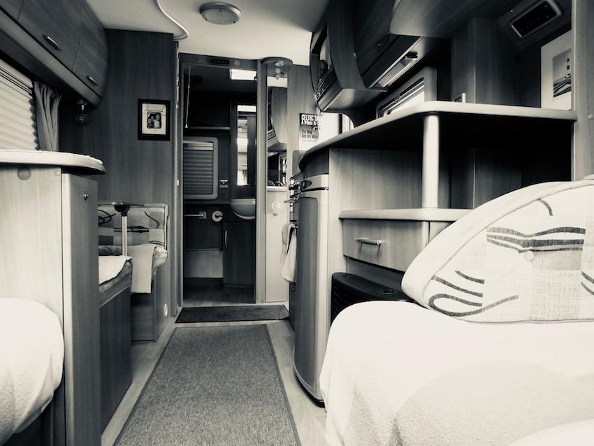 black and white view of caravan interior