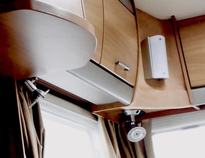 caravan lights and cupboards