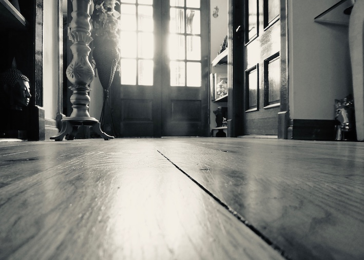 solid wooden floors in sunny hall