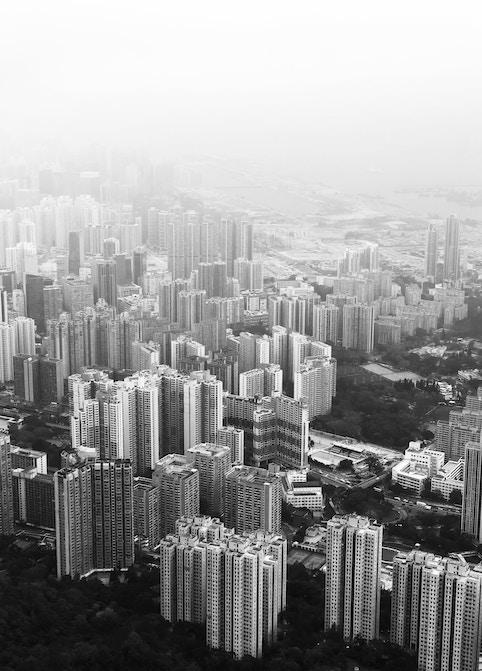 Hong Kong dense housing blocks