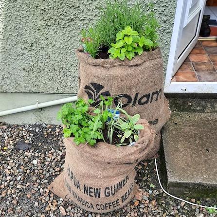 grow bags by doorstep