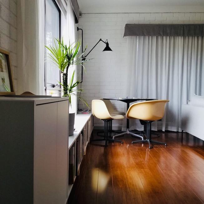 Melbourne interior, white brick walls