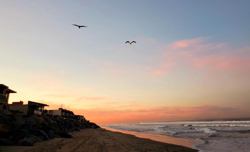 dramatic sunrise on Californian beach