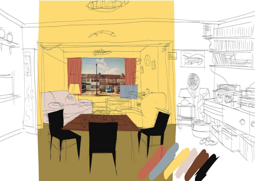 Colour test  sketch for TV set  - living room