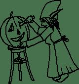 PoZie creuse une citrouille d'Halloween
