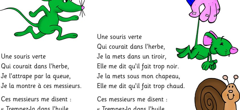 Une souris verte - paroles de la comptine